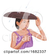 Woman Protecting Herself From Rain