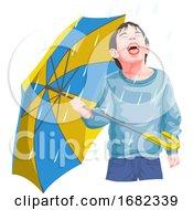 Boy Enjoying Rainfall