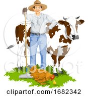 Farmer With Hen And Cow
