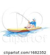 Man Fishing On Boat