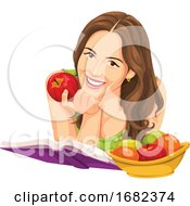 Woman Holding Apple And Reading A Book