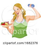 Fit Woman Posing With Dumbbell And Fruit