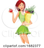 Beautiful Woman Holding An Apple And Grocery Bag Full Of Vegetables by Morphart Creations