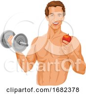 Fit Man Holding Dumbbell And An Apple