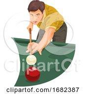 Poster, Art Print Of Man Playing Billiards