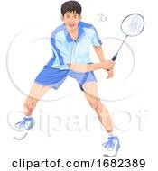 Poster, Art Print Of Teenager Playing Badminton