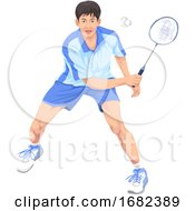 Teenager Playing Badminton