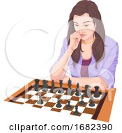 Poster, Art Print Of Woman Playing Chess
