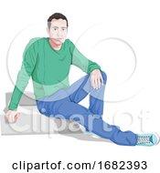 Stylish Man Sitting On Steps