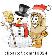 Clipart Picture Of A Scrub Brush Mascot Cartoon Character Wearing A Santa Hat And Standing With A Snowman by Toons4Biz