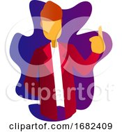 Character Illustration Of A Doctor In Red Coat Pointing Finger Up