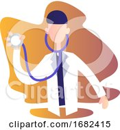 Male Doctor Holding Stetoscope Character Illustration