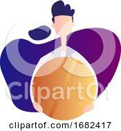 Male Doctor Holding Huge Orange Pill Inside A Purple Bubble