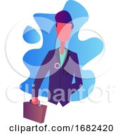Doctor In Purple Coat Holding A Briefcase Character Illustration
