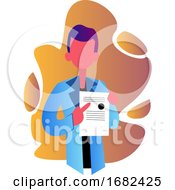 Male Doctor Showing Medical Diploma Occupation Illustration