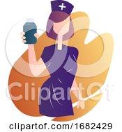 Nurse In Purple Medical Suit Holding A Medicine Bottle