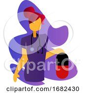 Simple Multicolor Illustration Of A Nurse In Purple Medical Suit Holding Huge Pill