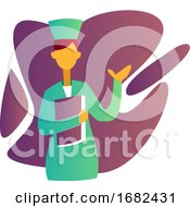 Colorful Illustration Of A Nurse Holding A Record In Front Of Purple Shapes