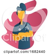 Ward Boy In Blue Medical Suit In Front Of Pink Graphic Shapes