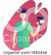 Modern Occupation Illustration Of A Ward Boy Holding A Medicine Bottle