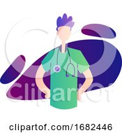 Colorful Of A Ward Boy In Green Medical Suit