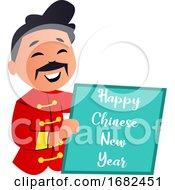 Cartoon Chinese Man Celebrating New Year
