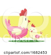 Poster, Art Print Of Chicken And A Little Chick Easter Art Illustration Web