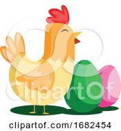 Poster, Art Print Of Easter Eggs And Chicken Illustration Web