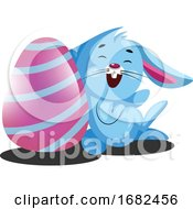 Poster, Art Print Of Decorated Easter Egg And Little Blue Rabbit Illustration Web
