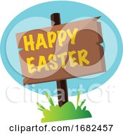 Poster, Art Print Of Happy Easter Sign In The Grass Illustration Web