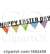 Happy Easter Day Sign With Flags Illustration Web