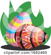 Poster, Art Print Of Two Easter Eggs With A Pattern In Grass Illustration Web