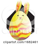 Poster, Art Print Of Yellow Easter Rabbit In Form Of An Egg Illustration Web