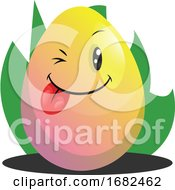 Poster, Art Print Of Easter Egg Winking And Smiling Illustration Web