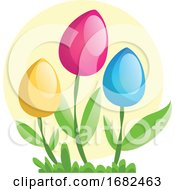 Poster, Art Print Of Yellow Pink And Blue Easter Eggs On Flower Stems Illustration Web