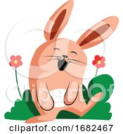 Poster, Art Print Of Happy Easter Rabbit Smiling In Front Of Flowers Illustration Web On White Background