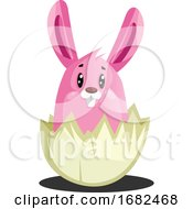 Poster, Art Print Of Pink Easter Bunny In Cracked Eggshell Illustration Web