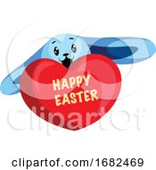 Poster, Art Print Of Blue Easter Bunny Wishing Happy Easter Illustration Web