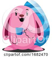 Poster, Art Print Of Pink Easter Rabbit Holding A Cup Illustration Web
