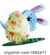Poster, Art Print Of Blue Bunny Holding Easter Egg With Painted Hearts Illustration Web