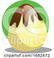 Poster, Art Print Of Chocolate Easter Egg In Front Of Green Circle Illustration Web
