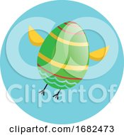 Poster, Art Print Of Green Easter Egg With Chicken Wings And Legs Flying Illustration Web
