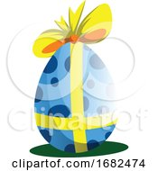 Poster, Art Print Of Blue Easter Egg Decorated With A Bow Illustration Web