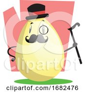 Poster, Art Print Of Gallant Easter Egg With Monocle And Top Hat Illustration Web