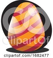 Poster, Art Print Of Orange Easter Egg With Red Lines Illustration Web