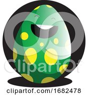 Poster, Art Print Of Green Easter Egg In Front Of Black Circle Illustration Web