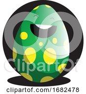 Green Easter Egg In Front Of Black Circle Illustration Web