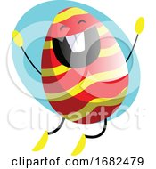 Poster, Art Print Of Easter Egg Jumping From Happiness Illustration Web