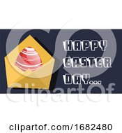 Poster, Art Print Of Happy Easter Day Card With Red Egg Illustration Web