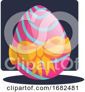 Poster, Art Print Of Decorated Easter Egg With A Bow Illustration Web